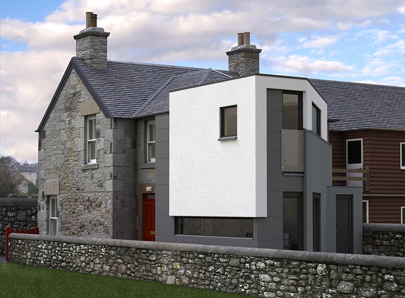 external view of extension with white render